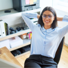 woman leaning back on office chair
